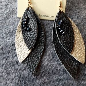 Jewelry - Fringed leather Marquise earrings